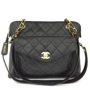 100% Auth CHANEL Quilted Matelasse Caviar Skin